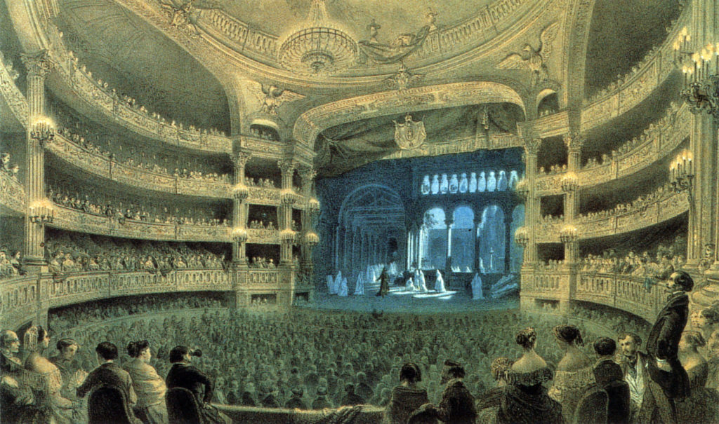 Act 3 scene 2 of Robert at the Paris Opéra (Salle Le Peletier), 1832.\