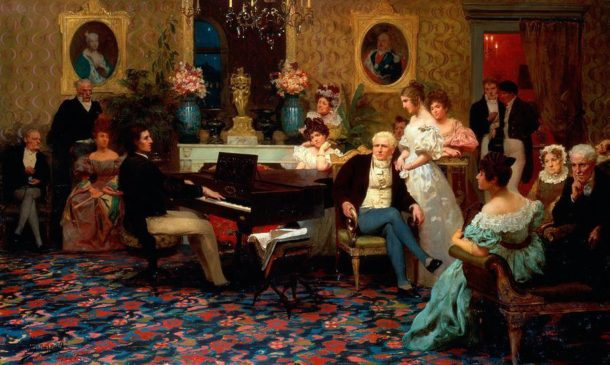 Chopin performing for the Radziwiłł family, painting by Henryk Siemiradzki (1843–1902)