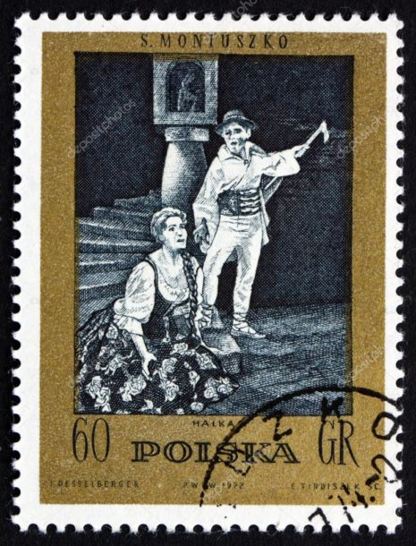 A Scene from Halka on a Postage Stamp