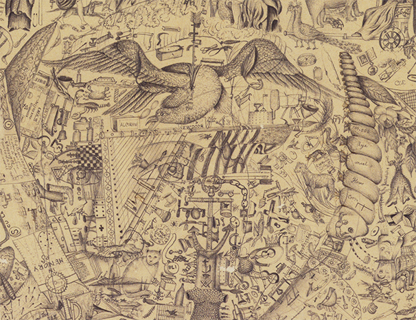 Cyrus William King, Illustrated Dictionary (detail), Graphite with touches of black and brown ink on tan wove paper.