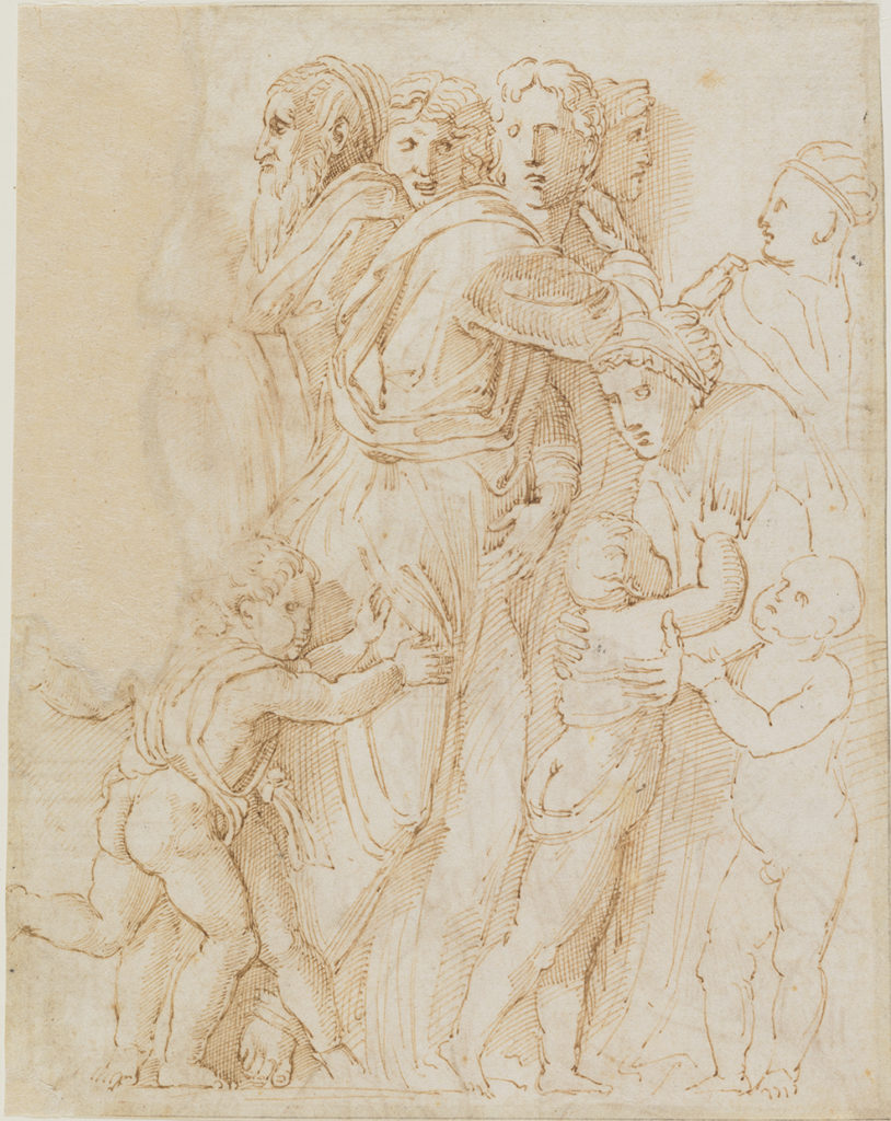 Copy after Donatello's Relief of the Miracle of the Miser on the High Altar of S. Antonio, Padua: recto. Workshop of Raphael. Pen and brown ink.