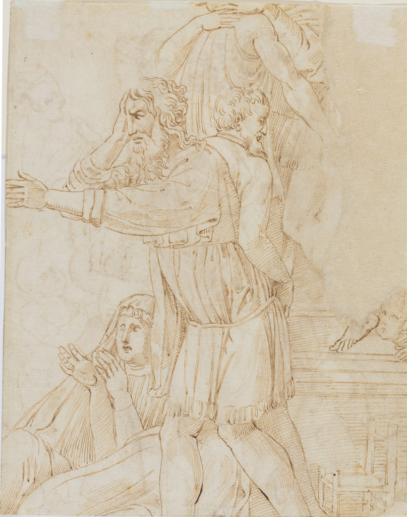 Copy after Donatello's Relief of the Miracle of the Miser on the High Altar of S. Antonio, Padua: verso. Workshop of Raphael. Pen and brown ink.