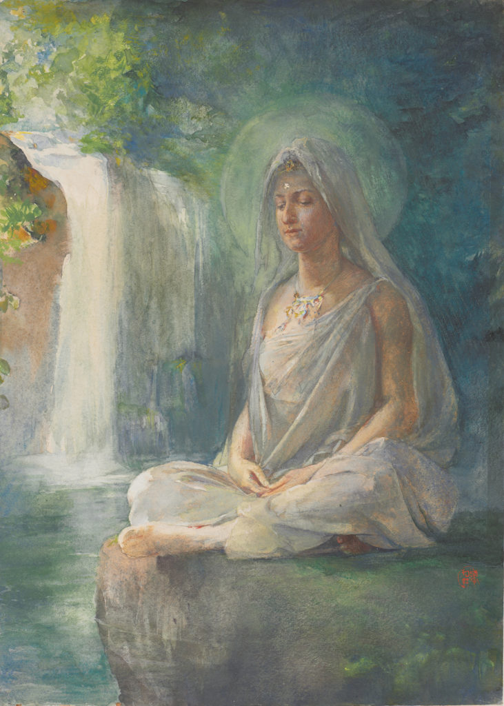 John La Farge, Meditation of Kuwannon. Watercolor on off-white wove paper.