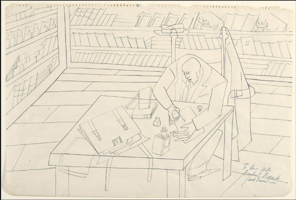 Jacob Lawrence, The Schomburg Library (ca. 1946). Blue ink on paper.