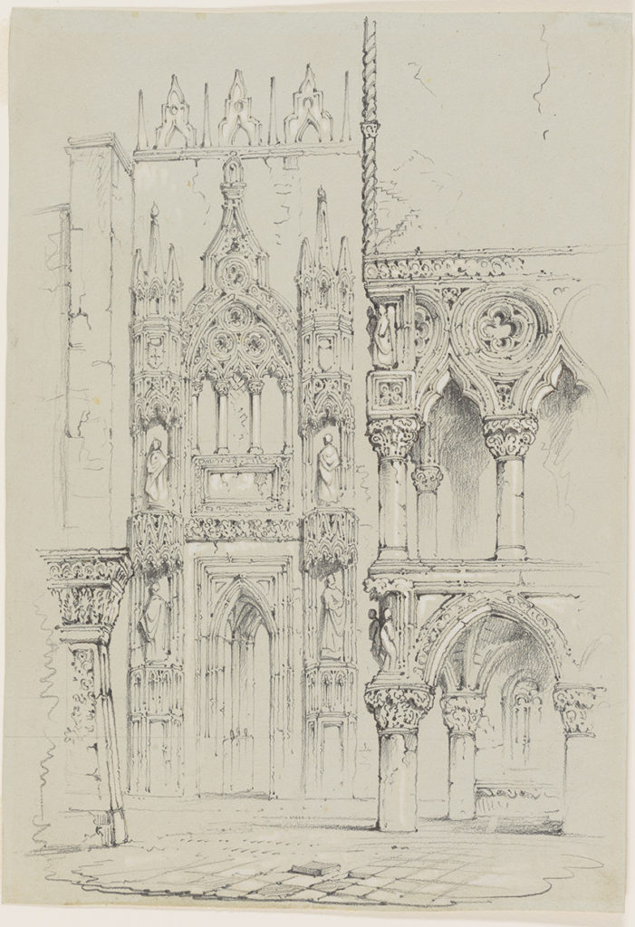 John Ruskin, View of the Porta della Carta of the Ducal Palace at Venice. Graphite on grey wove paper.