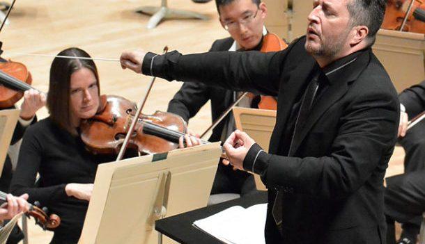 Thomas Adès conducting the BSO. Photo Stu Rosner.