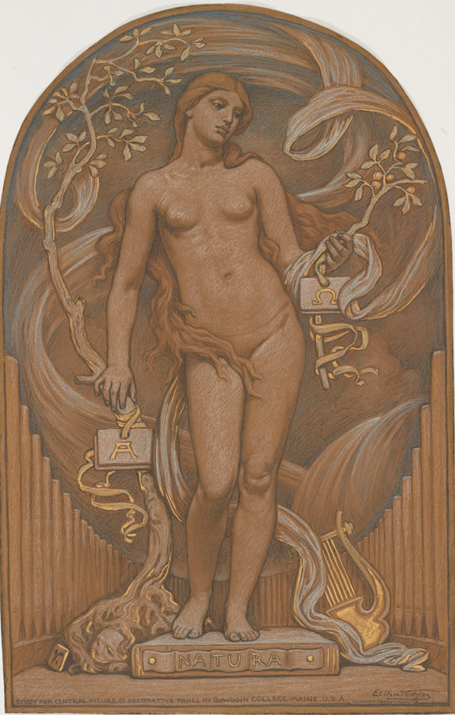 Elihu Vedder, Nature. graphite, pastel and gilt Gn brown wove paper.