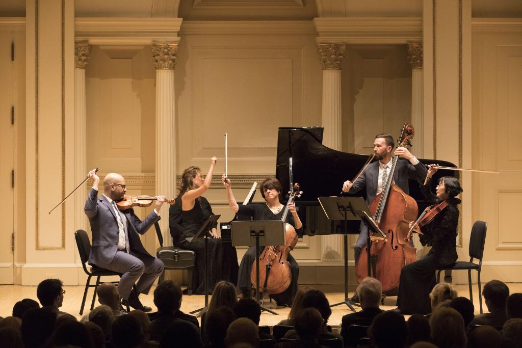 John Marcus, Violin; Eriko Sato, Viola; Ruth Sommers, Cello; Logan Coale, Double Bass; Tanya Bannister, Piano play Schubert's