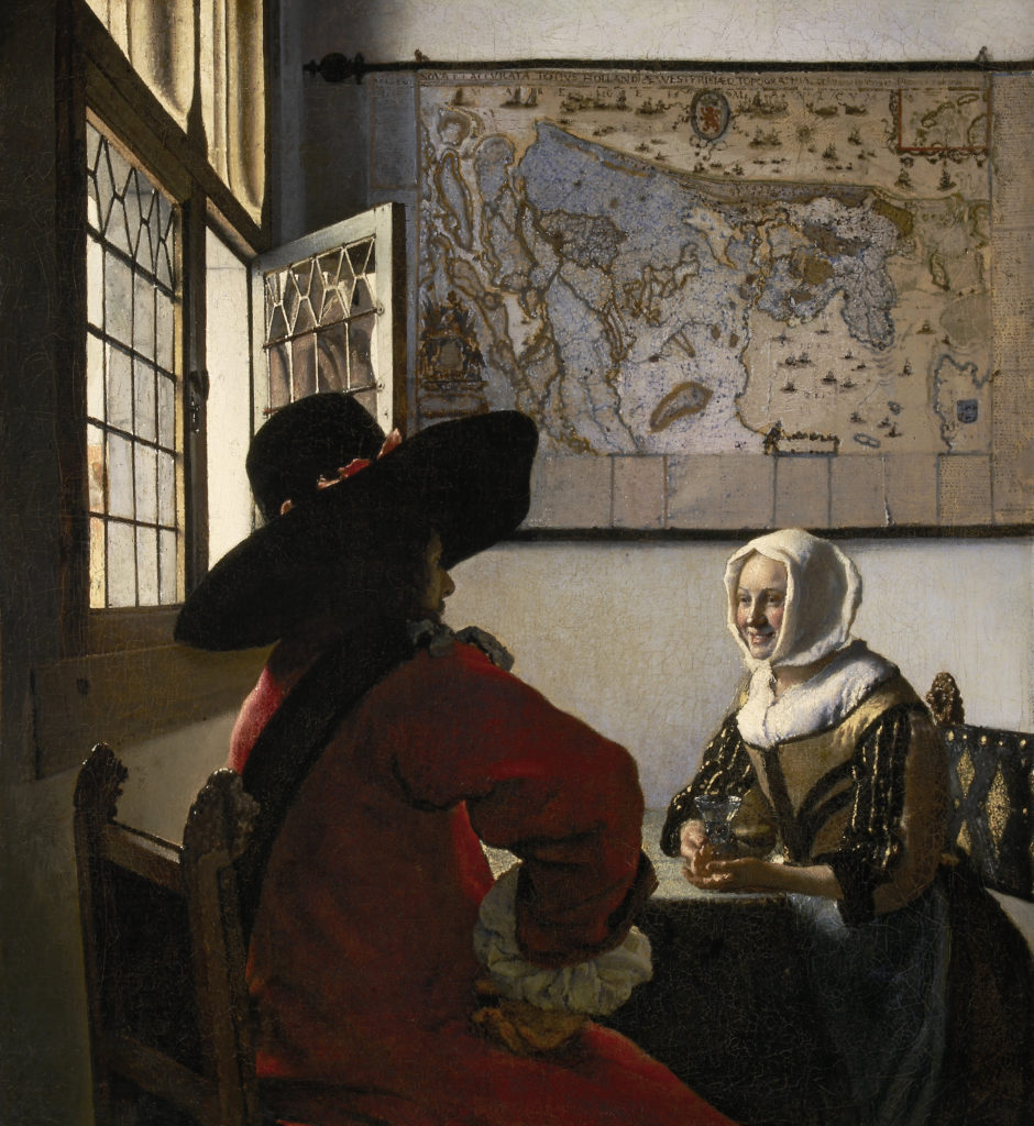 Johannes Vermeer, Officer and Laughing Girl, Oil on canvas, ca. 1657, The Frick Collection, New York.