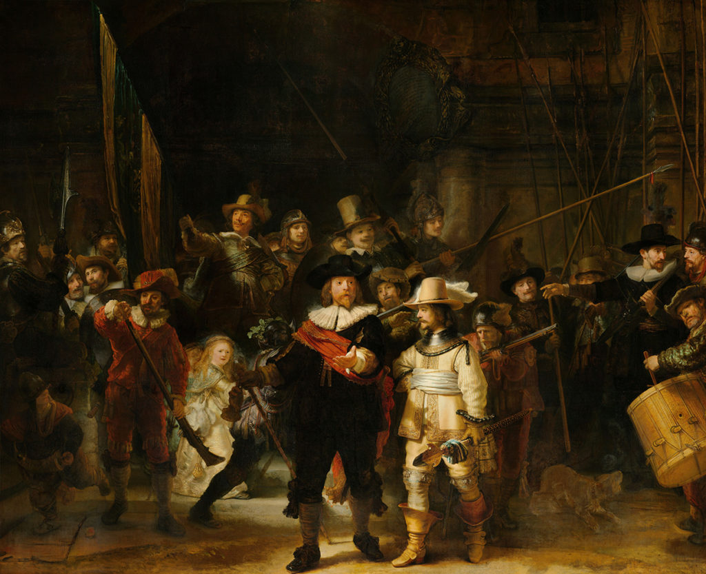 "Rembrandt van Rijn, Militia Company of District II under the Command of Captain Frans Banninck Cocq, Known as the ""Night Watch,"" Oil on canvas, 1642, Rijksmuseum, Amsterdam."