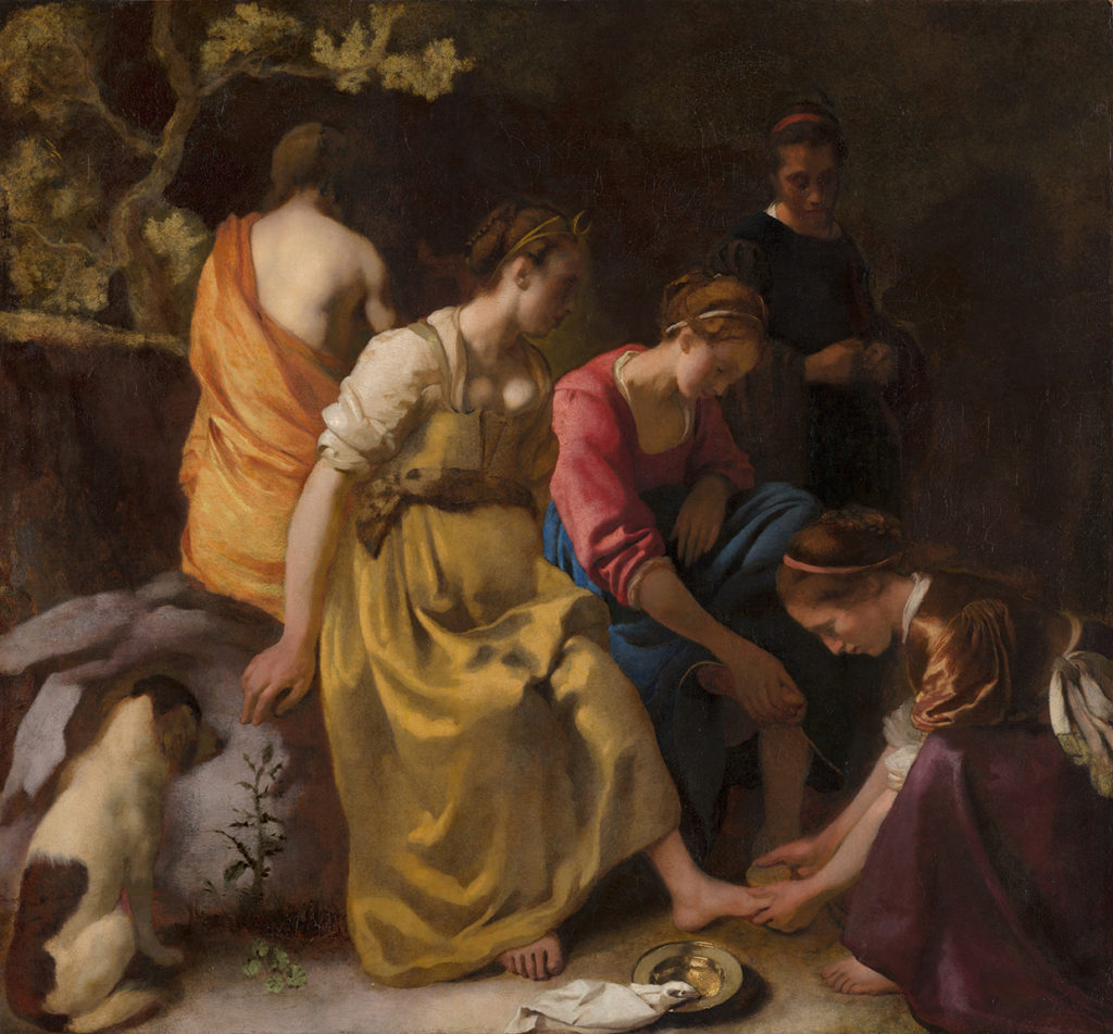 Johannes Vermeer, Diana and her Nymphs, c. 1653 - 1654. Mauritshuis.