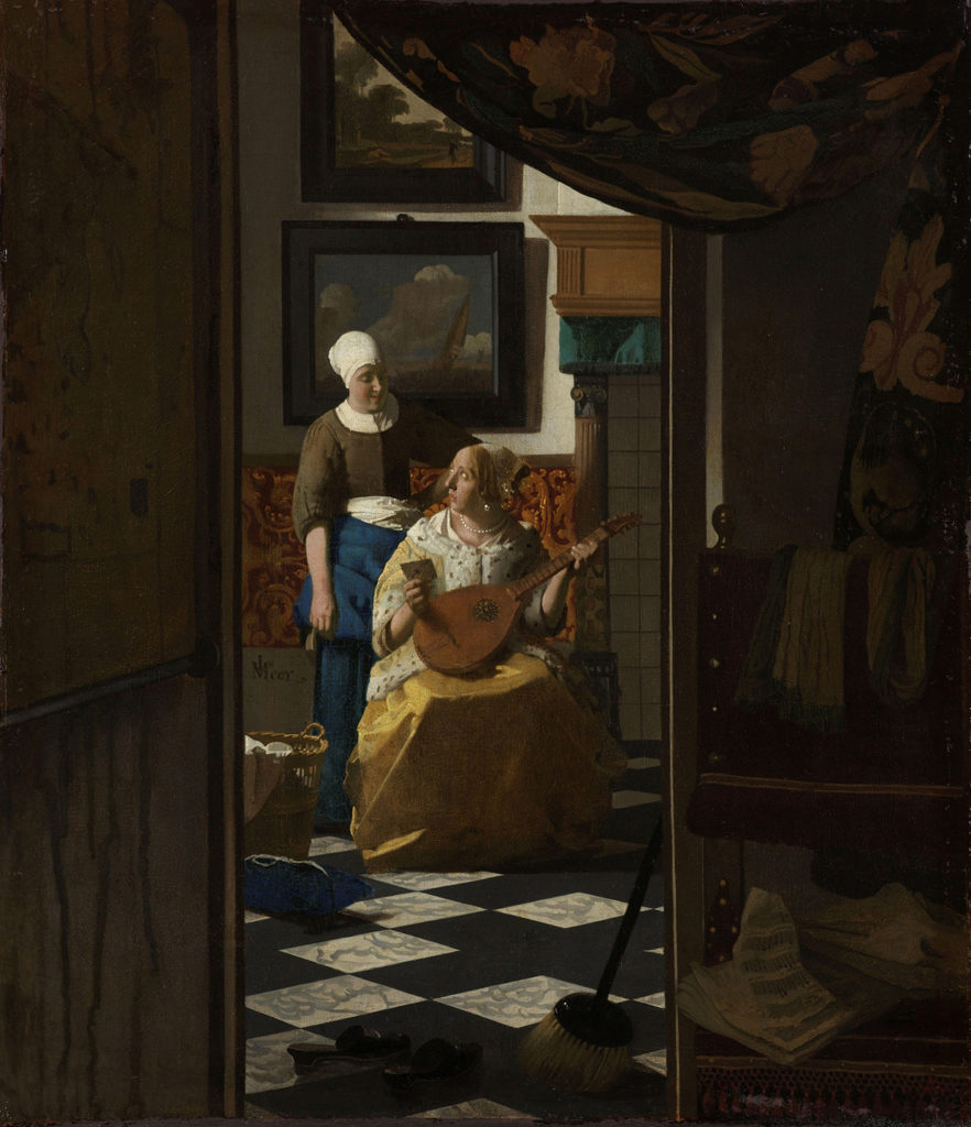 Johannes Vermeer, The Love Letter, Oil on canvas, ca. 1669 - ca. 1670, Rijksmuseum, Amsterdam.