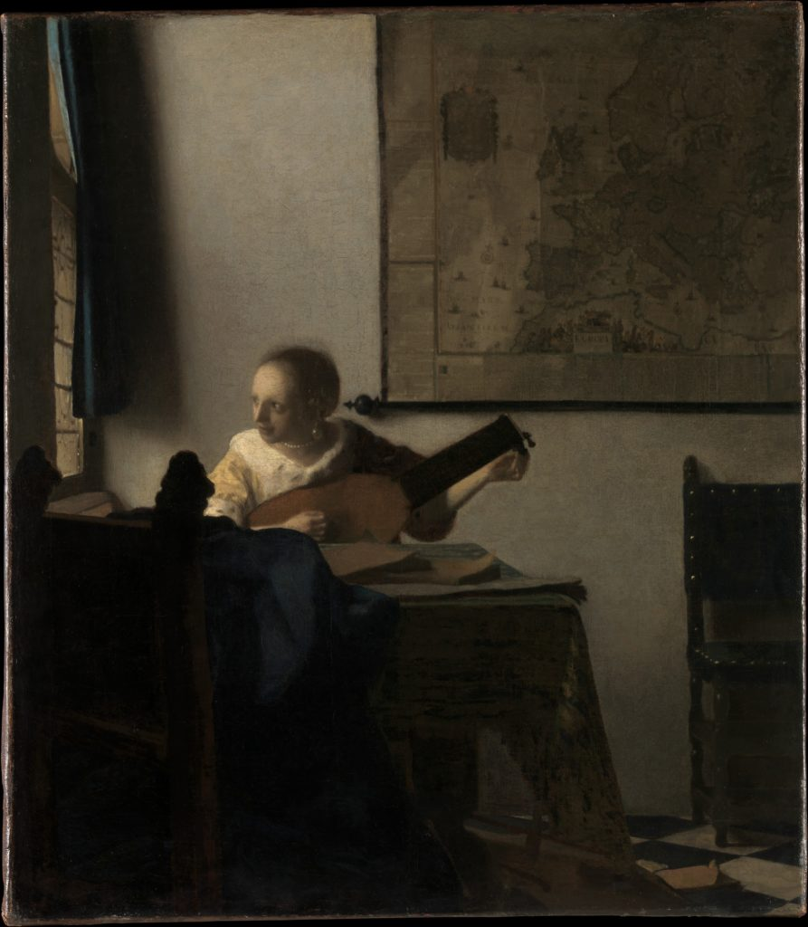 Johannes Vermeer, Woman with a Lute, Oil on canvas, ca. 1662–63. Metropolitan Museum of Art, New York.