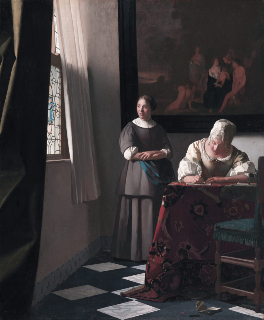 Johannes Vermeer, Woman Writing a Letter, with her Maid, Oil on canvas, 1670 - 1671. National Gallery of Ireland, Dublin.