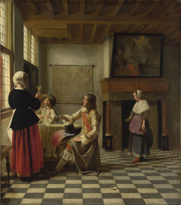 Pieter de Hooch, An Interior, with a Woman drinking with Two Men, and a Maidservant, Oil on canvas, probably 1658.