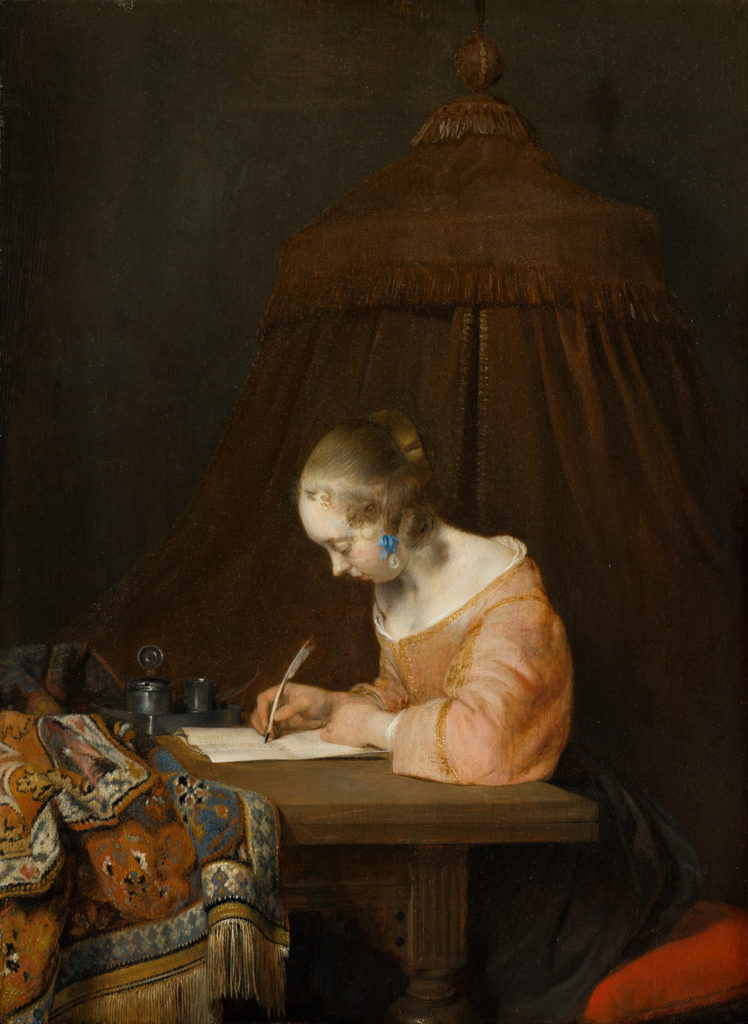 Gerard ter Borch, Woman Writing a Letter, c. 1655. Mauritshuis.
