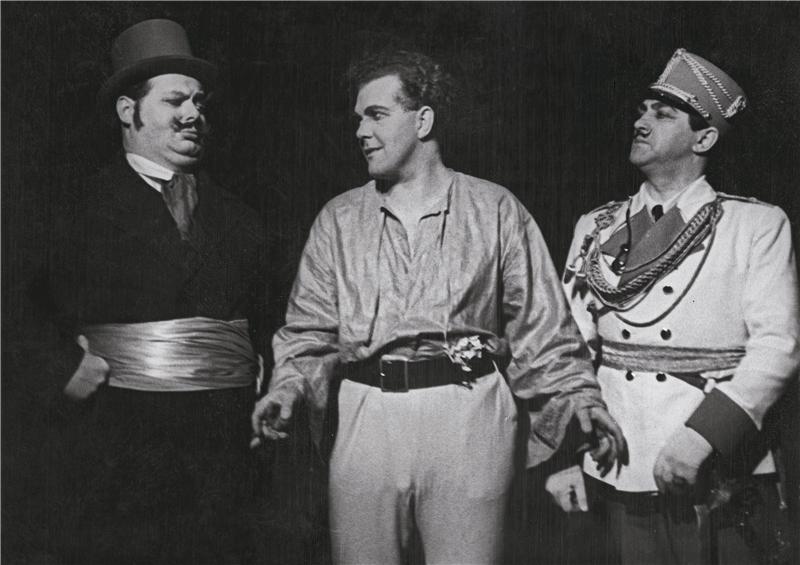 A Scene from a 1935 Production of Honzovo království, with Zdeněk Otava, Vladimír Tomš, Bronislav Chorovič.