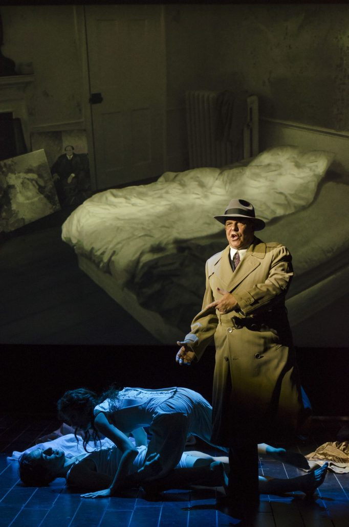 In the style of a film noir, Arnold Schoenberg (Omar Ebrahim) recounts the story of his wife Mathilde's affair in Boston Lyric Opera's World Premiere Schoenberg in Hollywood by composer Tod Machover and librettist Simon Robson.