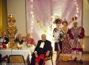 Wealthy people in costume at the Bal des Arts, an annual costume party at the Breakers Hotel in Palm Beach, Florida