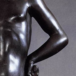 Donatello, David, bronze, Museo del Bargello, Florence (Detail: left arm)