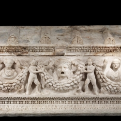 Anonymous (Roman). 'Garland Sarcophagus,' 150-180. Dokimeion marble. Walters Art Museum (23.29): Acquired by Henry Walters with the Massarenti Collection, 1902.