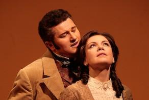 "Ekaterina Semenchuk as Olga and Piotr Beczala as Lenski in Tchaikovsky's ""Eugene Onegin."" Photo Beatriz Schiller/Metropolitan Opera"