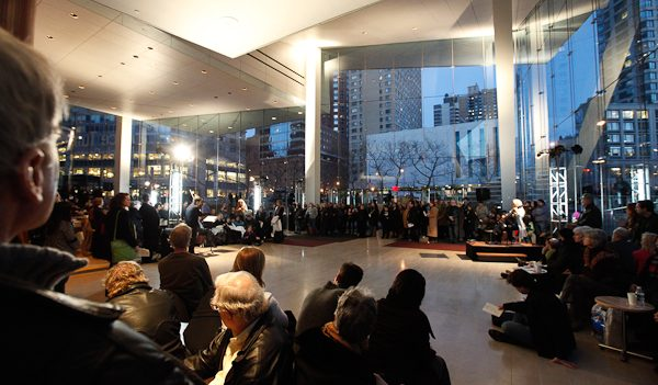 A performance in the Grand Foyer and Morgan Stanley Lobby of Alice Tully Hall (Ethel: not in Tully Scope). Photo Richard Termine.