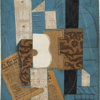 "Pablo Picasso (Spanish, 1881-1973) Guitar. Céret, March 31, 1913, or later Cut-and-pasted newspaper, wallpaper, paper, ink, chalk, charcoal, and pencil on colored paper 26 1/8 x 19 1/2"" (66.4 x 49.6 cm) The Museum of Modern Art, New York. Nelson A. Rockefeller Bequest © 2011 Estate of Pablo Picasso/Artists Rights Society (ARS), New York"