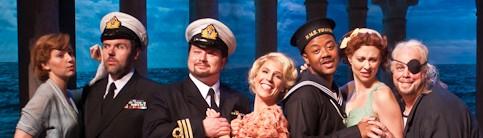 Tynan Davis, Jason Plourde, Robert McPherson, Georgia Jarman, Jorell Williams, Vanessa Cariddi, and Scott Bearden in HMS Pinafore. Photo Gabe Palacio.