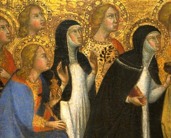 Bartolo di Fredi, Sienese, Seven Saints in Adoration. Tempera and gold leaf on panel. 1975.49.1