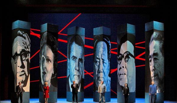 Nixon in China, Patrick Carfizzi (Henry Kissinger), Maria Kanyova (Pat Nixon), Brian Mulligan (Richard Nixon), Simon O'Neill (Mao Tse-tung), Hye Jung Lee (Madame Mao) and Chen-Ye Yuan (Chou En-lai). Photo by Cory Weaver.