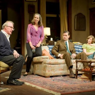 Tracy Letts as George , Amy Morton as Martha, Carrie Coon as Honey, Madison Dirks as Nick in Edward Albee's Who's Afraid of Virginia Woolf