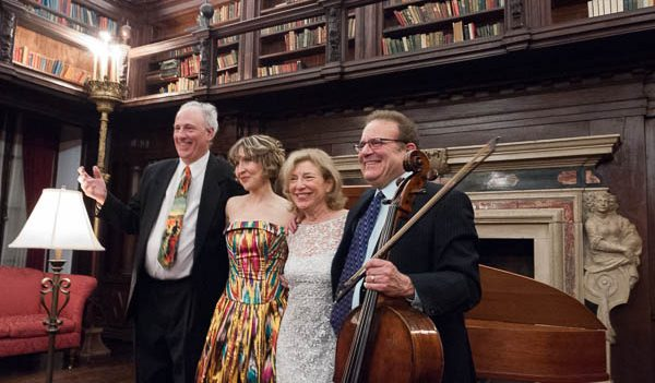 Kenneth Cooper, Roza Tulyaganova, Paula Robison, and Frederick Zlotkin take their bows in the library of the House of the Redeemer, Jan. 29, 2013. Photo Joanna Gabler