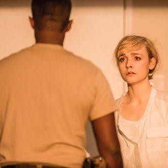 Othello at the National Theatre: Olivia Vinall as Desdemona, Adrian Lester as Othello. Photo Johan Persson.