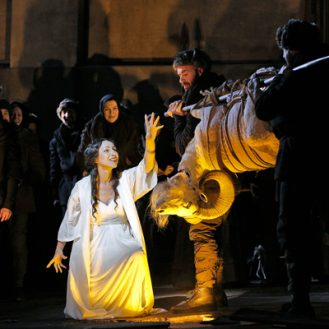 Clytemnestra (Liuba Sokolova) sacrifices a ram in Taneyev's Oresteia at Bard. Photo Cory Weaver.
