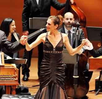 Laurent Nauori, Delphine Galou and Lydia Teascher and Le concert d'Astrée. Photo by Kevin Yatarola.