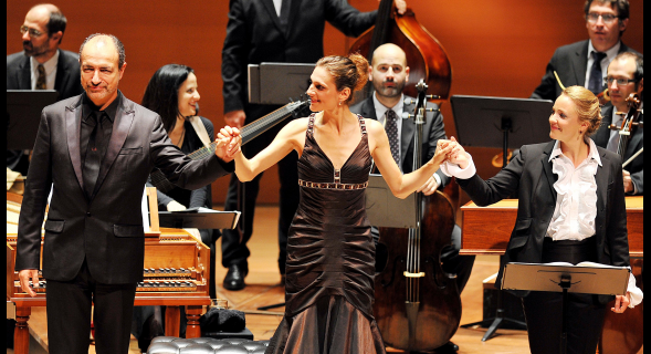Laurent Nauori, Delphine Galou and Lydia Teascher and Le concert d'Astrée. Photo by Kevin Yatarola.