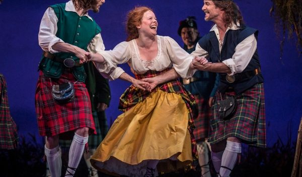 Brigadoon at the Goodman Theatre, Chicago: Jamy Meek (Ensemble), Maggie Portman (Meg Brockie) and Richard Strimer (Ensemble)