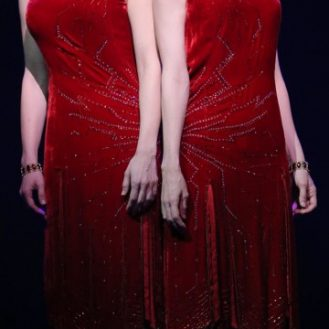 """Emily Padgett and Erin Davie in a scene from """"Side Show"""". Photo Joan Marcus."""