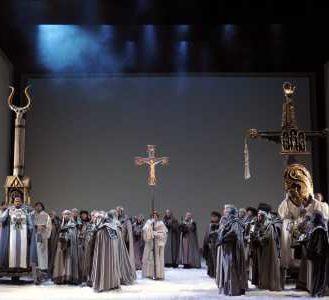 Totem poles in Lohengrin. Photo Dan Rest/Lyric Opera of Chicago.