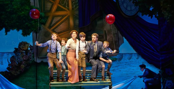 Finding Neverland, (L-R) Sawyer Nunes, Alex Dreier, Laura Michelle Kelly, Aidan Gemme, Matthew Morrison, Christopher Paul Richards. Photo © Carol Rosegg.