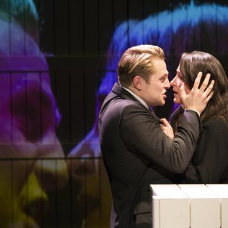 Orlando James as Leontes, Natalie Radmall-Quirke as Hermione. Photo Rebecca Greenfield.