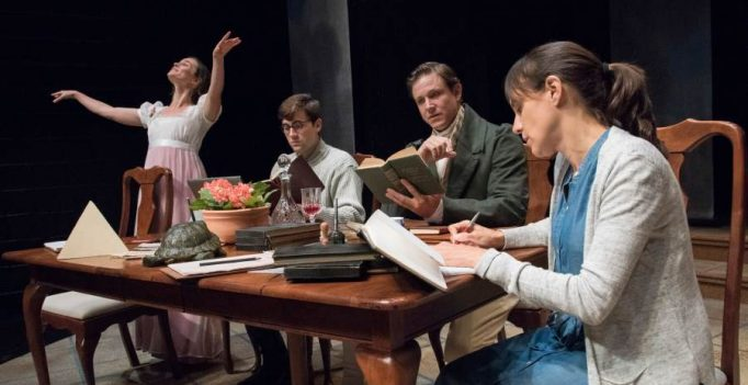 Caitlin Duffy (Thomasina Coverly), Jackson Prince (Valentine Coverly), Andrew William Smith (Septimus Hodge), and Stephanie Janssen (Hannah Jarvis). Photo Stan Barouh.