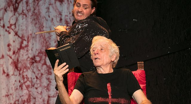 """Matt de Rogatis (standing) and Austin Pendleton (seated) in a scene from """"Wars of the Roses: Henry VI & Richard III"""" now playing at the 124 Bank Street Theater through August 19th. Photo Chris Loupos."""