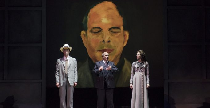 ramed by a self-portrait painting, Arnold Schoenberg (Omar Ebrahim, c.) recalls a romantic moment from his past, reenacted by Jesse Darden (l.) and Sarah Womble (r.) in Boston Lyric Opera's World Premiere Schoenberg in Hollywood by composer Tod Machover and librettist Simon Robson.