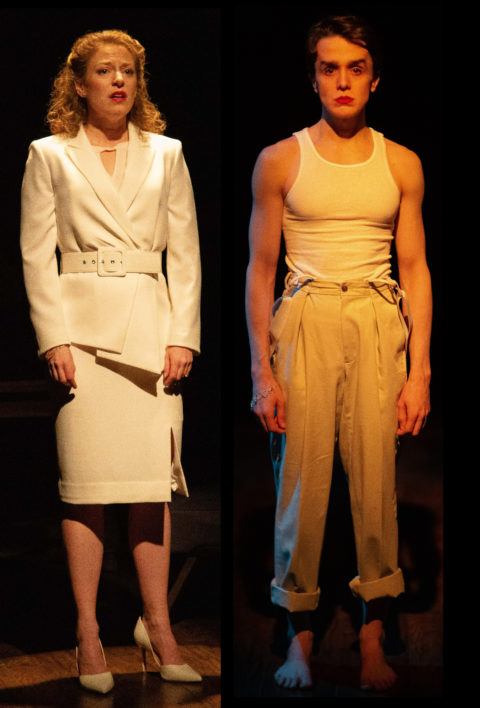 Rebecca Gibel and Darwin Del Fabro as Dominique-Dominic in Rodrigo Nogueira's Real.