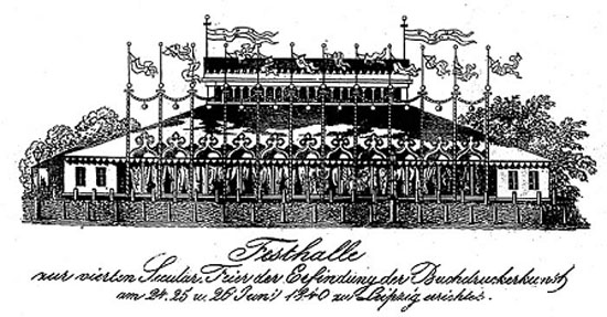 The Festival Hall of the 1840 Celebration of Gutenberg's invention of boo printing.