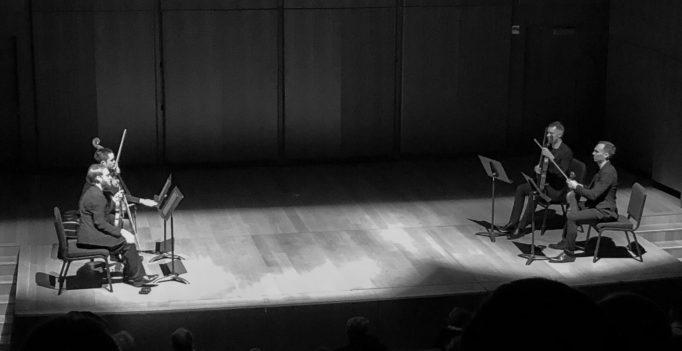 The JACK Quartet prepare to tackle Carter's Third String Quartet. Photo ©2019 Michael Miller.