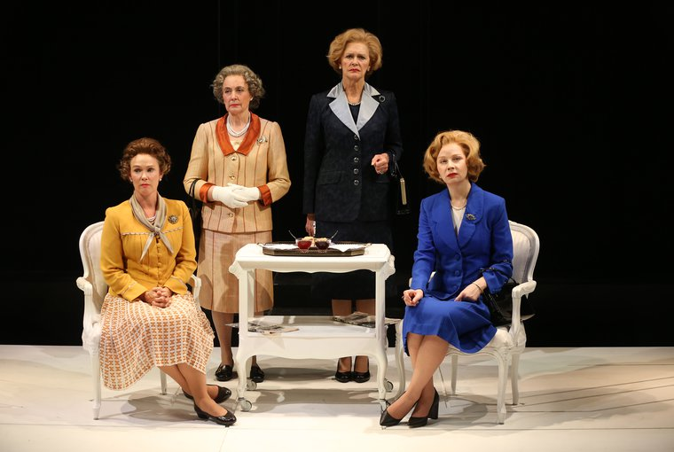 "Anita Carey, Beth Hylton, Susan Lynskey, and Kate Fahy in ""Handbagged"". Photo Carol Rosegg."