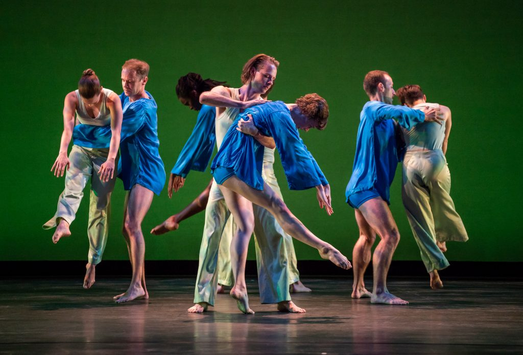 The Mark Morris Dance Group performs opening night for the Mostly Mozart Festival on July 19, 2019. the dancers: Mica Bernas, Sam Black, Brandon Cornay, Domingo Estrada Jr, Lesley Garrison, Lauren Grant, Aaron Loux, Dallas McMurray, Brandon Randolph, Nicole Sabella, Christina Sahaida: Ives: Trio for Violin, Cello, and Piano V  Schumann: Piano Quintet in E-flat major Mark Morris, choreographer Colin Fowler, piano Georgy Valtchev, violin American String Quartet. Photo Stephanie Berger.